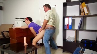 The firm's client fucks a stupid secretary. Fucks in the mouth and pussy. Sex in the office. 4