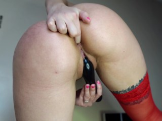 Cute Girl Fingering Pussy Big Sex Toy While No One Is Home