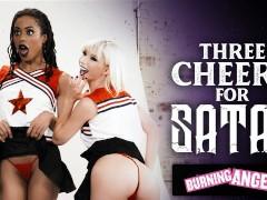 BurningAngel Cheerleaders Kenzie Reeves & Kira Noir Get Destroyed By The Football Team Leader