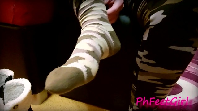 My boots and socks undressing and sweaty feet play in camo leggings 15