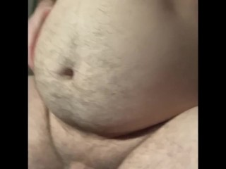 Horny gainer rubs belly and ass...