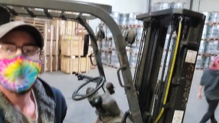 TGIF riding His cock while He's on the forklift