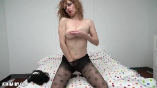 Leona Strips From Her Lingerie To Finger Her Hairy Pussy