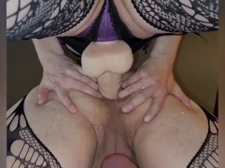 Me deep in my manpussy strapon huge dildo...