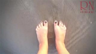 Sexiest lady at lonely nudist beach. Black swimsuit. Black bikini.