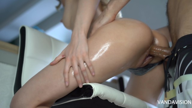 doused with oil and fucked hard cute slut in her little tight shaved oiled pussy