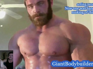 Giant bodybuilder average men posing size comparison plus...