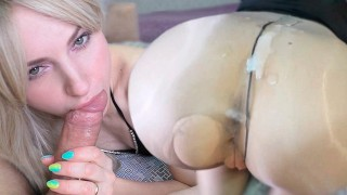 Passionate Sex Through Pantyhose Hole and Blowjob