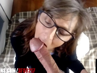 Granny wearing glasses load cock...