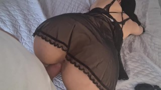 Mature Wife dressed Black sexy Give me awesome footjob and i have big cum load