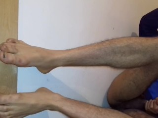 Guy with sexy feet jerking off after he finished fucking his skinny friend