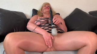 Filthy Big Tit Mature Stepmom Buzzes her wet Pussy with Magic Wand through Pantyhose