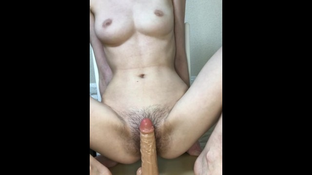 Japanese skinny creamy hairy pussy first anal with big dildo.