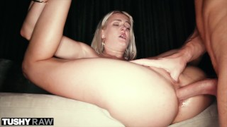 TUSHYRAW Tiny Blonde gets her little ass pounded hard