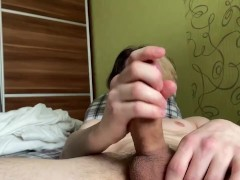 Morning masturbation with huge cumshot