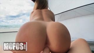 Mofos - Amateur Molly Pills gives POV foojob, blowjob and bounces on cock