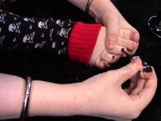 Red Vinyl Kitty Paints Her Toenails While Wearing Skull Legwarmers Preview