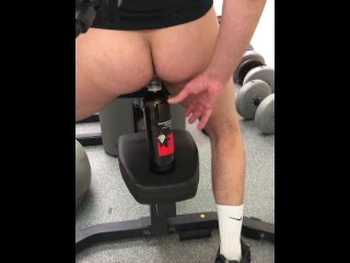 I FUCKED MYSELF with a Bottle of Wine I found in the GYM ** HUGE CUMSHOT **