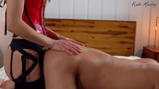 Kate Wears Her Sexy Red Corset While She Rides Me With a Strap-On - Kate Marley