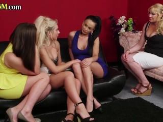 Voyeuristic CFNM dommes watching breakup sex