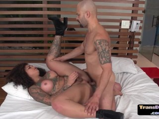 Inked ts babe with booty and big tits fucked