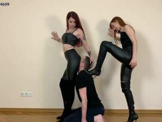 Slave Mouth Existing for Serving Pussies and Asses of Two Goddesses and POV Double Worship [PREVIEW]