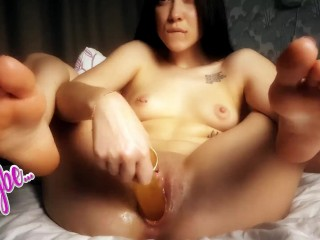 Fucked herself with all toys and finished with...