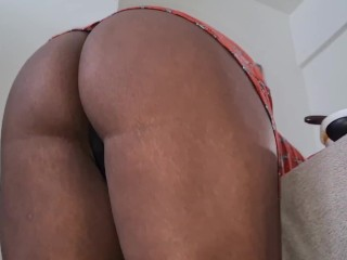 Hot Ebony Wife Teasing Thick Booty Upskirt POV at Home