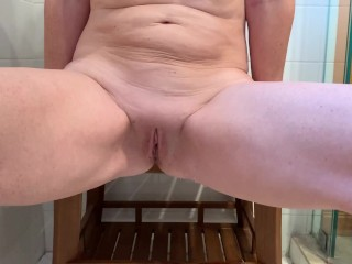 Wife peeing in the shower. Good full bladder release.