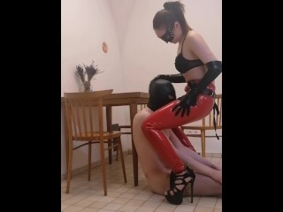 Fucked asshole slave in kitchen. Full clip on my Onlyfans (link in bio)