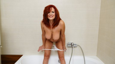 Busty Redhead Cougar Andi James Stuff Her Hairy Pussy Until She Cums