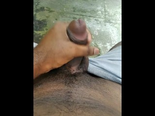 Jerking off in outside the house