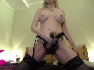 Stuff yuor ass with fingers as u are sucking my strapon,bitch, then get it in the ass! (prerecorded)