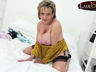 Undressed in nylons...
