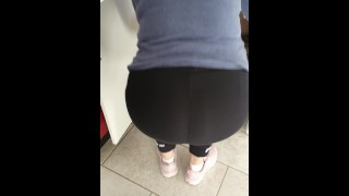 Step mom stuck under sink get fucked through leggings by step son