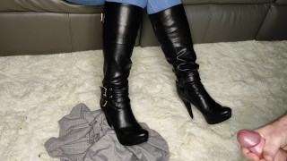 Allowing him to cum on my boots after crushing his dinner and his t-shirt CFNM