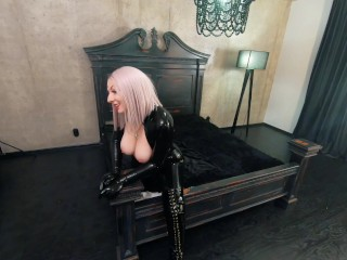 Rubber black latex catsuit backstage video, thigh high boots and shiny fetish clothes
