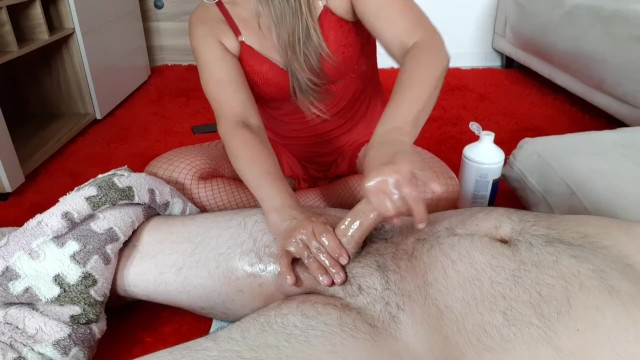 Sensual Oiled Handjob. Cum Control leads him cum 7