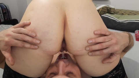husband eats anal creampie