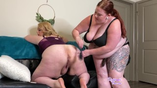 Ruby Sinclaire Strap on Fucks Blonde Plumper Curvy Mary