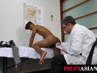 Asian twink barebacked by doctor after...