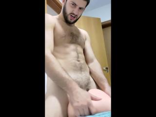 Horny stud cums ass cock bareback...