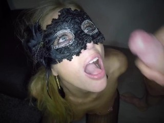 Dutch masked babe gets fucked in both holes and facial
