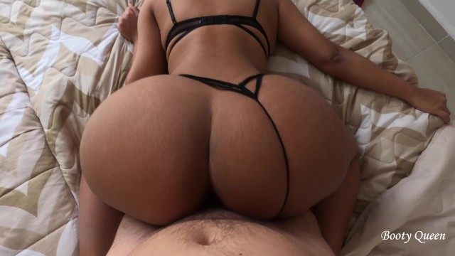 Hot model in sexy lingerie bounces her big ass on my dick to get cum. Doggystyle, backshots