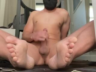 Twink femboy exhibitionist masturbating in front of open...