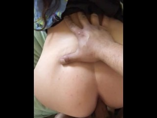 A quickie and cumming on my girls butthole while her parents bbq outside
