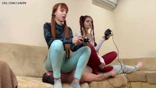 Gamer Girls Use a Slave As a Human-Sofa For Facesitting and Stomach-Sitting Femdom While Playing
