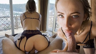 Fitness Model in Black Lingerie Gets Fucked in a Room with a Mountain View