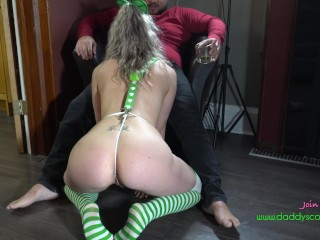 Dirty talking Blonde slutwife sucks and fucks on St patricks day
