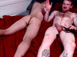 Redhead laying down hard rough pipe...